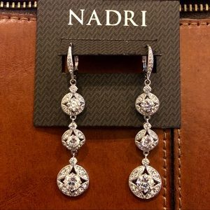 NWT Three Tiered Crystal Drop Earrings
